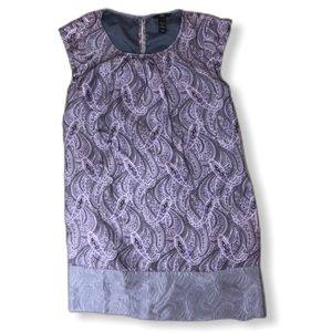 H&M Lavender Paisley Dress, Short, Cap Sleeves
